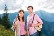 Alps - Couple hiking in the Bavarian mountains