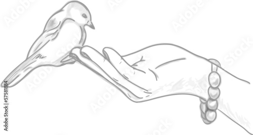Vector illustration of a hand with a bird sitting on it