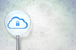 Cloud technology concept:  Cloud With Padlock on digital