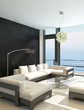 Modern white living room with huge windows and seascape view