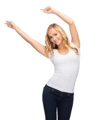 happy dancing woman in blank white t-shirt