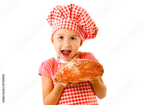 Little baker girl with bread loaf