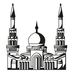 Symbol of Islam. Silhouette of Mosque. Ramadan.