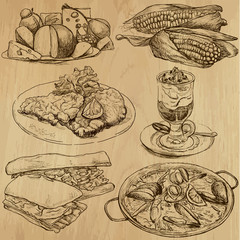 Food and Drinks around the World - drawings into vector 3
