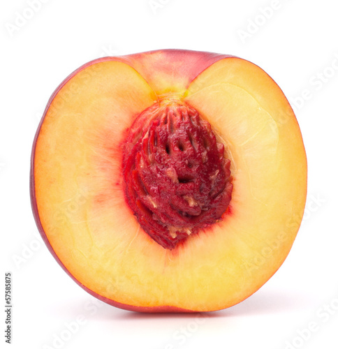 Nectarine fruit half isolated on white background cutout