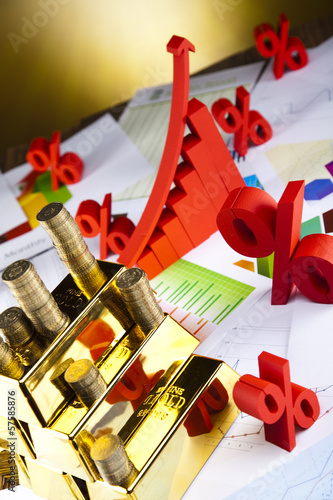 Financial indicators,Chart,Gold bar and sunshine