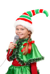 Girl - Santa's elf with a microphone.