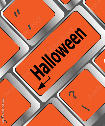 halloween word on button of the keyboard key button