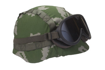 helmet with camouflage cover and protective goggles
