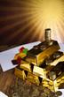 Gold Pyramid and sunshine