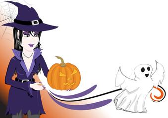Sfondo halloween strega zucca e fantasmino