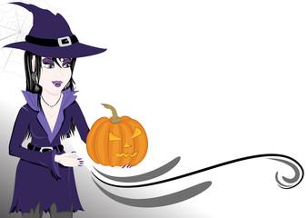 Sfondo halloween strega e zucca