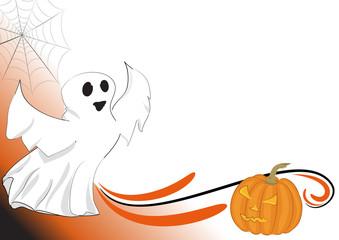 Sfondo halloween fantasmino e zucca