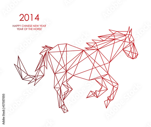 Poster Geometrische dieren Chinese new year of the Horse triangle web shape file.