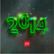 new year 2014 neon  numbers on  background
