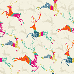 Merry Christmas reindeer seamless pattern vector file.