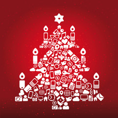Internet Icons christmas tree with red Background
