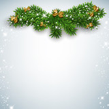 Fototapety Christmas background with fir branches.