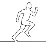 Black line art illustration of a running athlete.