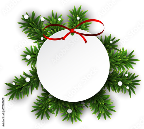 White round paper christmas card .