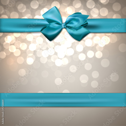 Greeting card with blue bow.