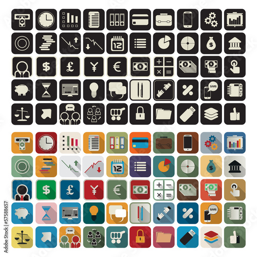 Business, finance flat icons