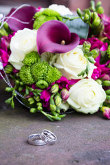 Wedding flower and rings