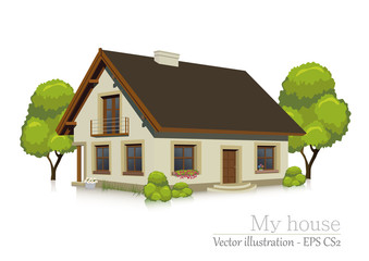 illustration of visualizing a house - isolated building