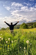 One man with arms outstretched in alpine landscape vertical