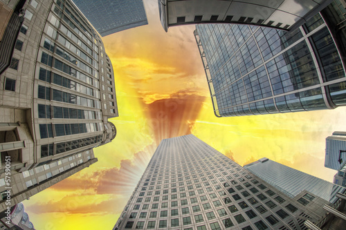 Upward view of Office Buildings