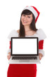 Female Santa Holding Laptop