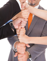 Businesspeople Stacking Fist