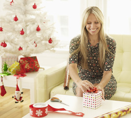 Mid-Adult Woman Wrapping Christmas Presents