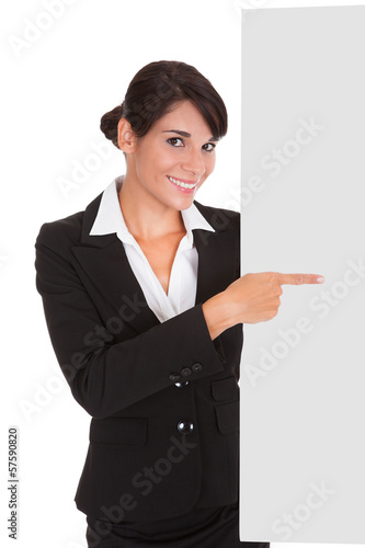 Young Businesswoman With Placard