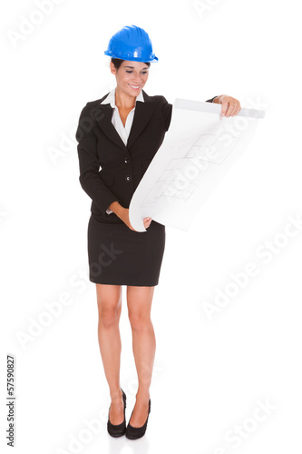 Female Architect With Blueprint