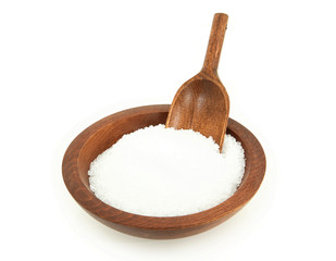 Epsom Salt In Wooden Bowl With Scoop