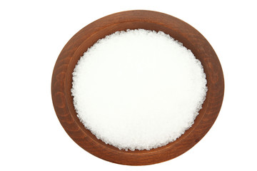 Top Down View Of Epsom Salt In Wooden Bowl
