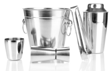 Cocktail shaker and metal ice bucket isolated on white.