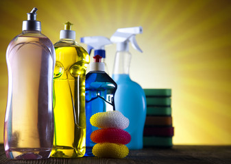 Cleaning products and sunset