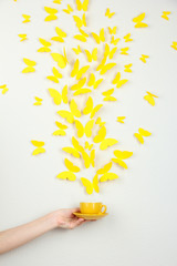 Paper yellow butterflies fly out of cup
