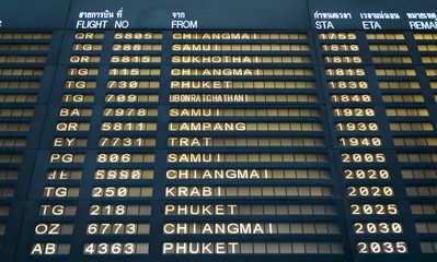 Suvarnabhumi Flight information board