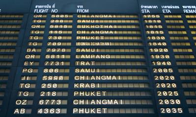 Suvarnabhumi Flight information board