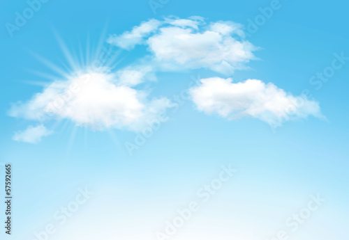 Blue sky with clouds and sun. Vector background - 57592665