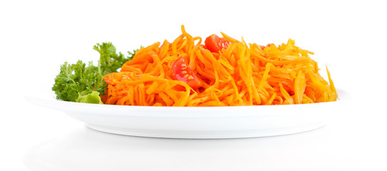 Carrot salad on plate isolated on white