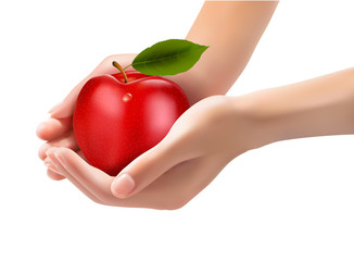 Red ripe apple in a hands. Concept of diet. Vector.