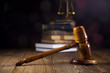 Mallet of judge, legal code and scales