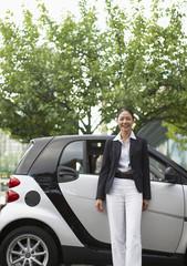 Happy Woman by Smart Car