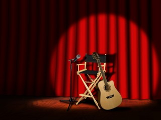 Microphone and Guitar on stage with Curtains