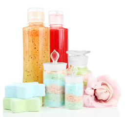 Aromatic salts in glass bottles and body scrubs, isolated