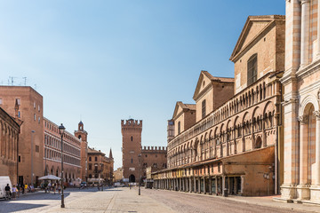 old street in historical center of Ferrara, Italy